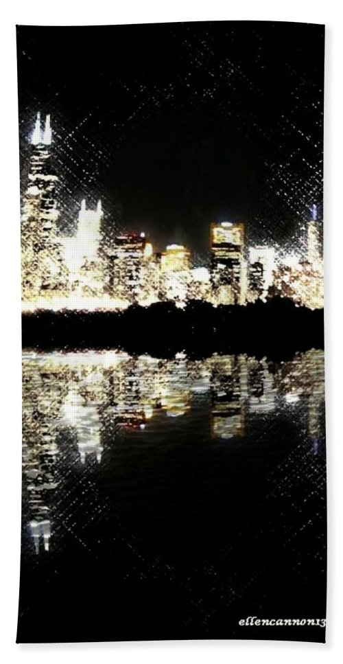 Chicago Bath Sheet featuring the photograph Sears Tower Dominated Skyline Lake Reflection by Ellen Cannon