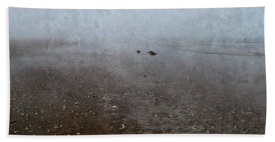 Seashells Hand Towel featuring the photograph Seashells On Foggy Beach by Annie Adkins