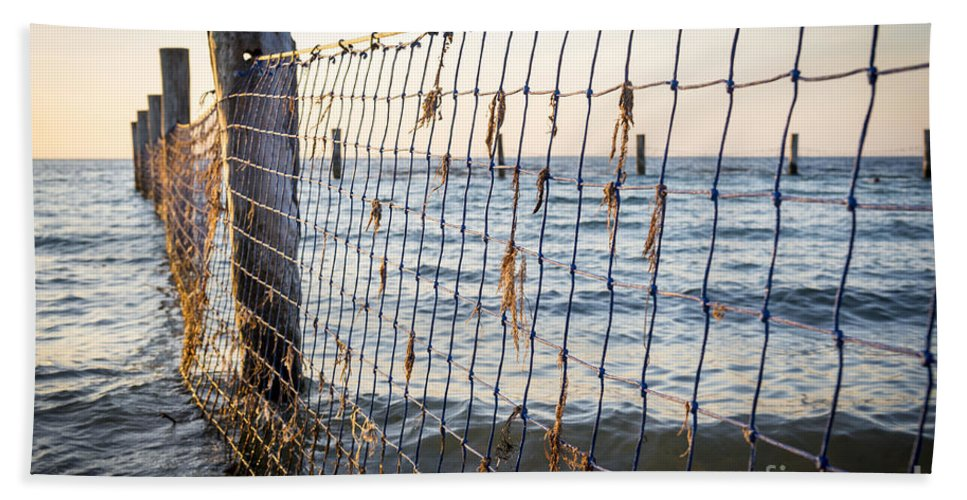 Nets Bath Sheet featuring the photograph Seaside Nets by Tim Hester