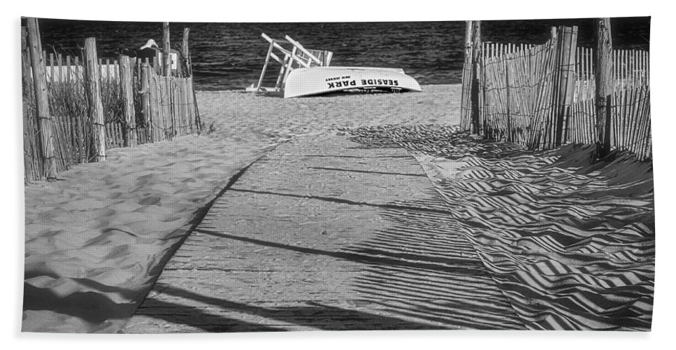 Jersey Shore Bath Sheet featuring the photograph Seaside Park New Jersey Shore Bw by Susan Candelario