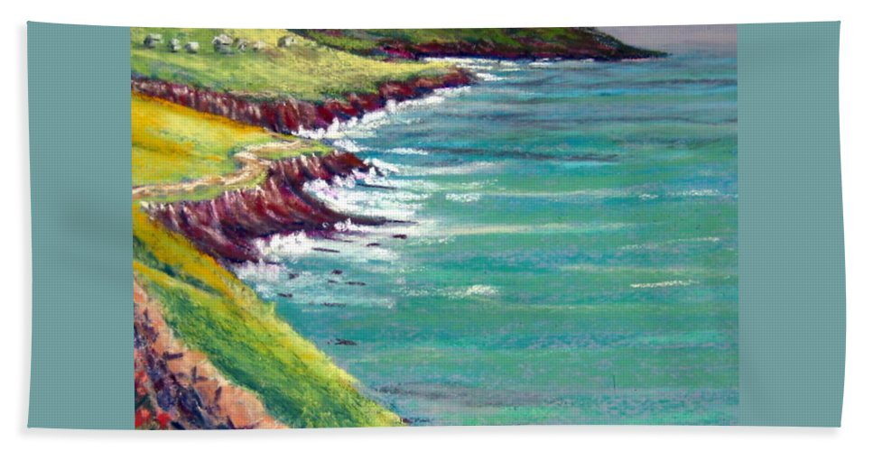 Marsh Hand Towel featuring the painting Seaside Path by Julia RIETZ