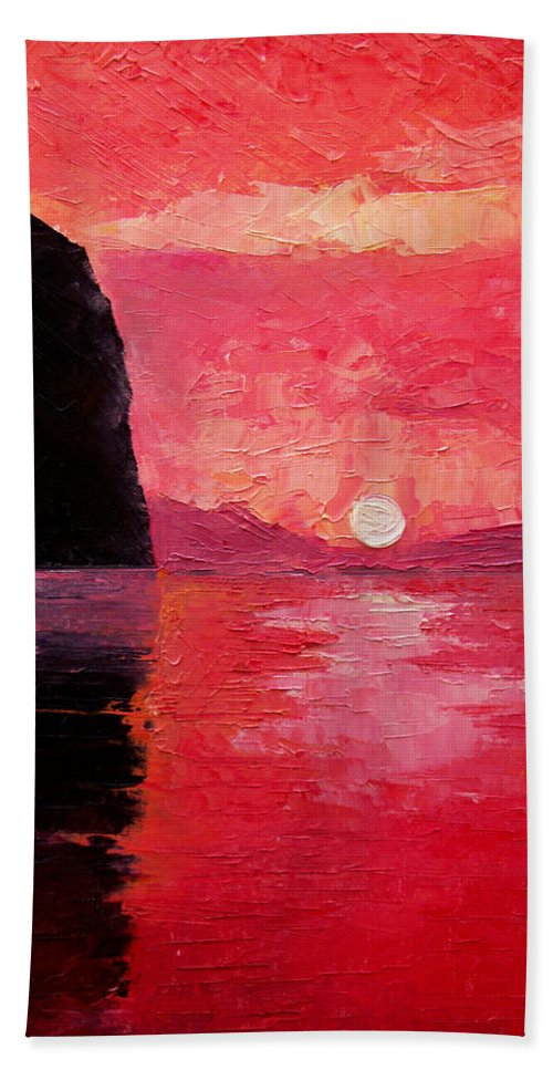 Landscape Hand Towel featuring the painting Seaside Sunset by Sergey Bezhinets