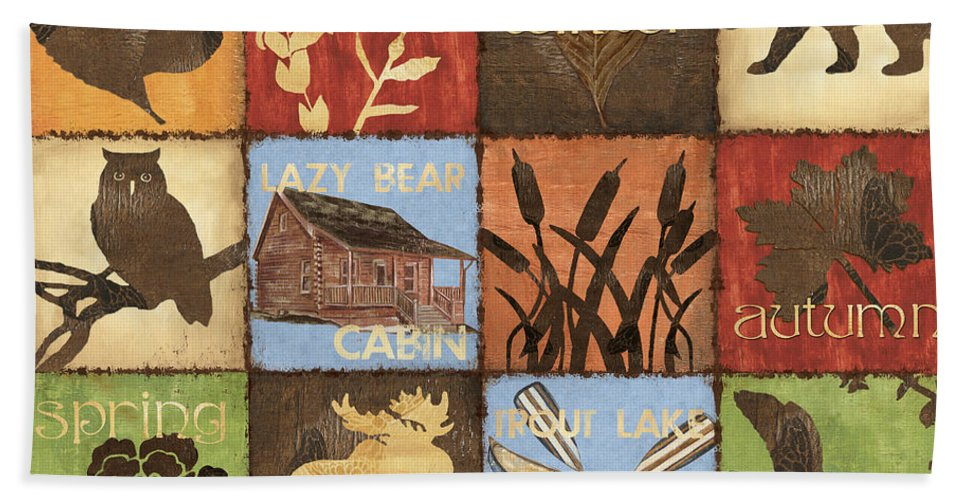 Lodge Bath Towel featuring the painting Seasons Lodge by Debbie DeWitt
