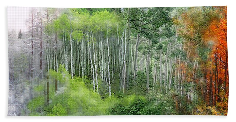 Aspen Bath Sheet featuring the mixed media Seasons Of The Aspen by Carol Cavalaris