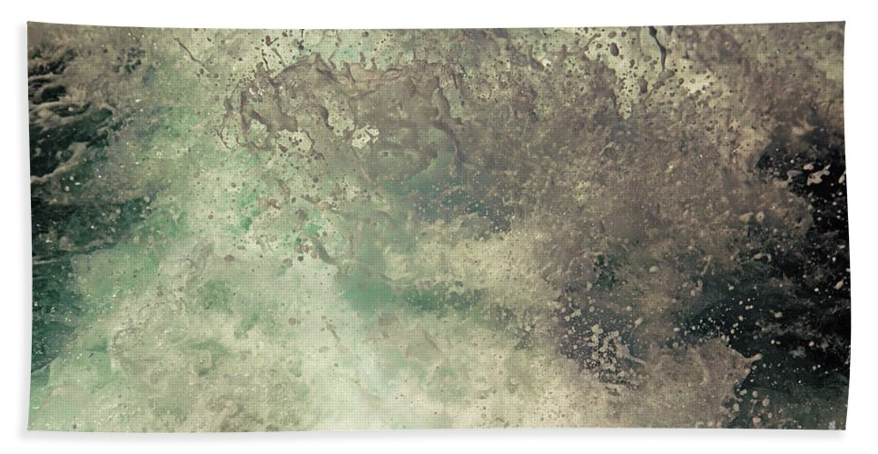 Water Sea Abstract Foam Spray Art Arty Lively Refreshing Hand Towel featuring the photograph Seaspray by Neil Pollick