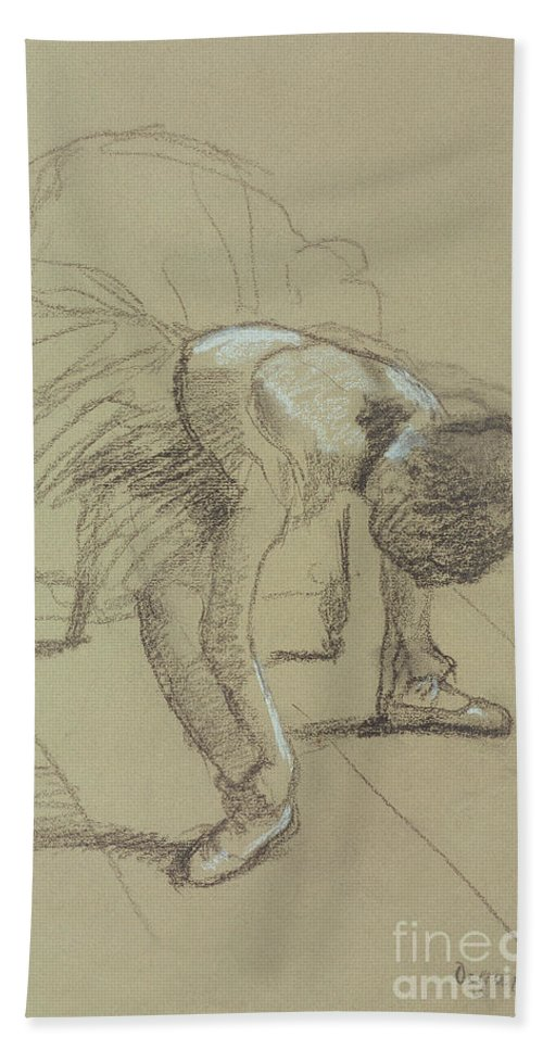 Female Hand Towel featuring the drawing Seated Dancer Adjusting Her Shoes by Edgar Degas