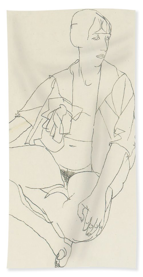 Egon Schiele Hand Towel featuring the drawing Seated Female Nude With Open Blouse by Egon Schiele