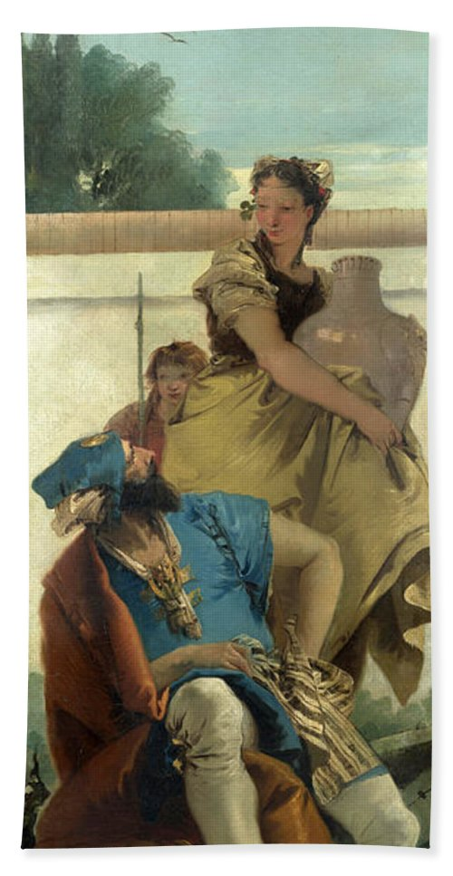 Giovanni Battista Tiepolo Hand Towel featuring the painting Seated Man Woman With Jar And Boy by Giovanni Battista Tiepolo