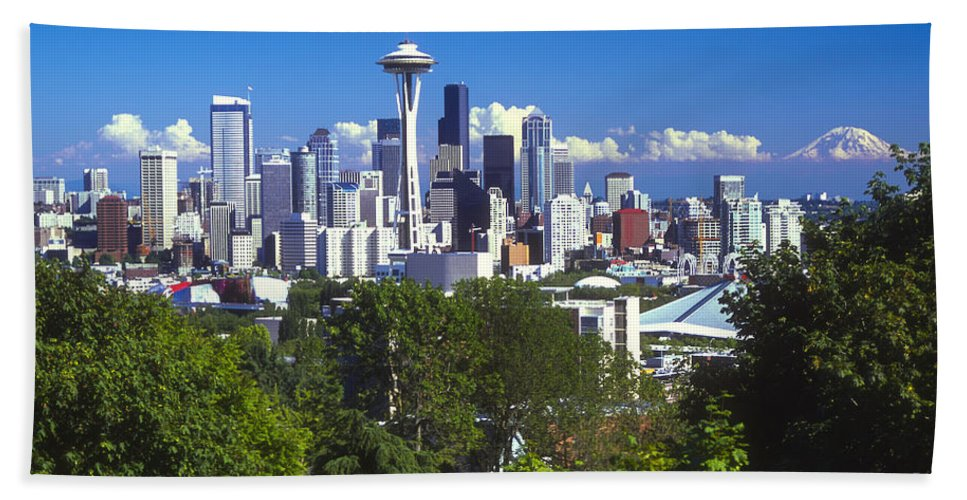 Seattle Hand Towel featuring the photograph Seattle And Mt. Rainier by Bob Phillips