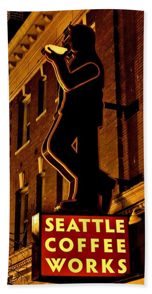 Seattle Hand Towel featuring the photograph Seattle Coffee Works by Benjamin Yeager