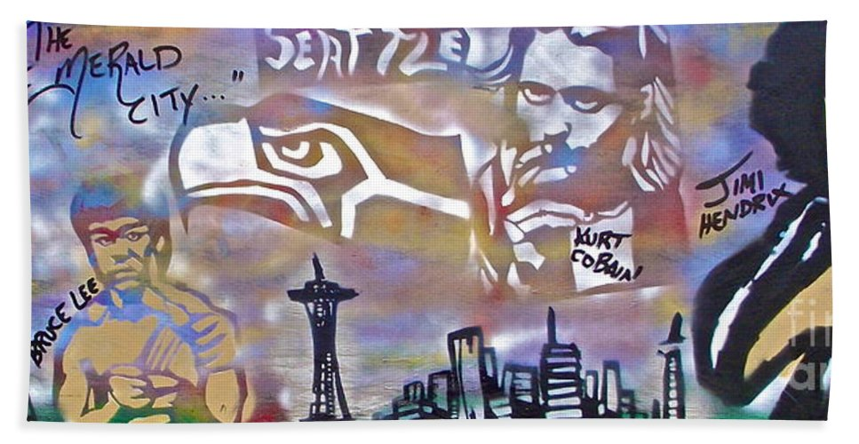 Jimi Hendrix Hand Towel featuring the painting Seattle Icons by Tony B Conscious