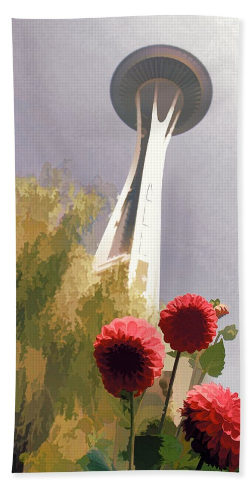 Seattle Needle Flower Bath Sheet featuring the photograph Seattle Needle One by Alice Gipson
