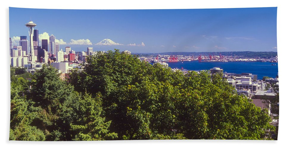 Seattle Hand Towel featuring the photograph Seattle On Puget Sound by Bob Phillips