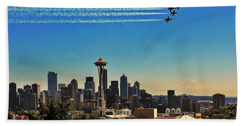 Blue Angels Hand Towel featuring the photograph Seattle Seafair by Benjamin Yeager