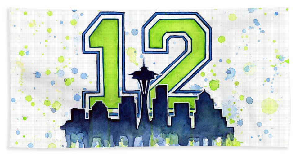 Seattle Hand Towel featuring the painting Seattle Seahawks 12th Man Art by Olga Shvartsur