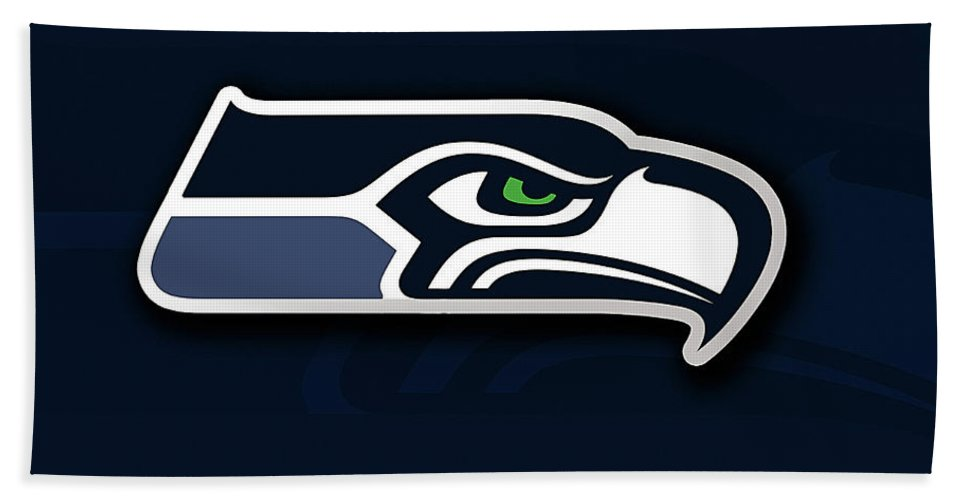 Football Bath Sheet featuring the mixed media Seattle Seahawks by Marvin Blaine