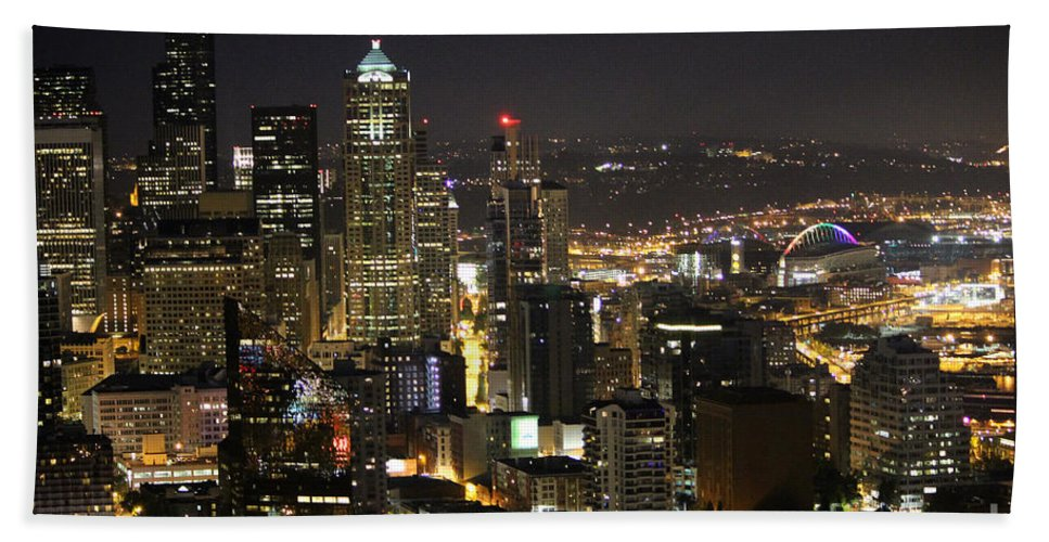 City Life Hand Towel featuring the photograph Seattle Skyline At Night by Stacey May