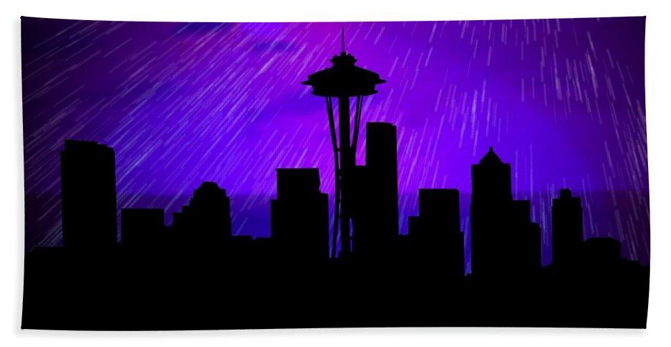 Rainy Seattle Skyline Bath Sheet featuring the digital art Seattle Skyline by John Wills