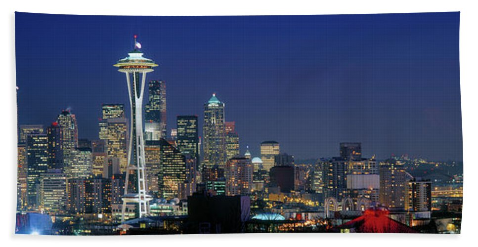 Photography Bath Sheet featuring the photograph Seattle Skyline With Space Needle by Panoramic Images