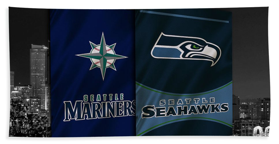 Seahawks Bath Towel featuring the photograph Seattle Sports Teams by Joe Hamilton