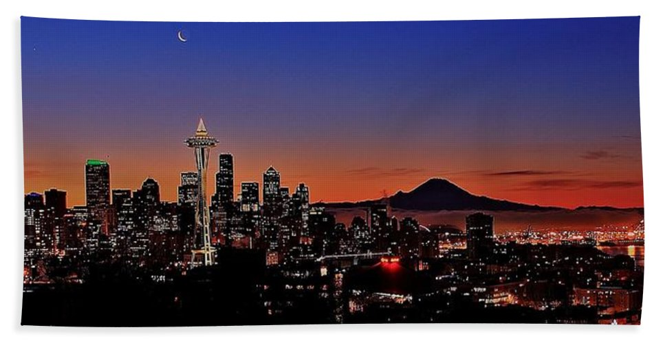 Seattle Bath Sheet featuring the photograph Seattle Sunrise Panorama by Benjamin Yeager
