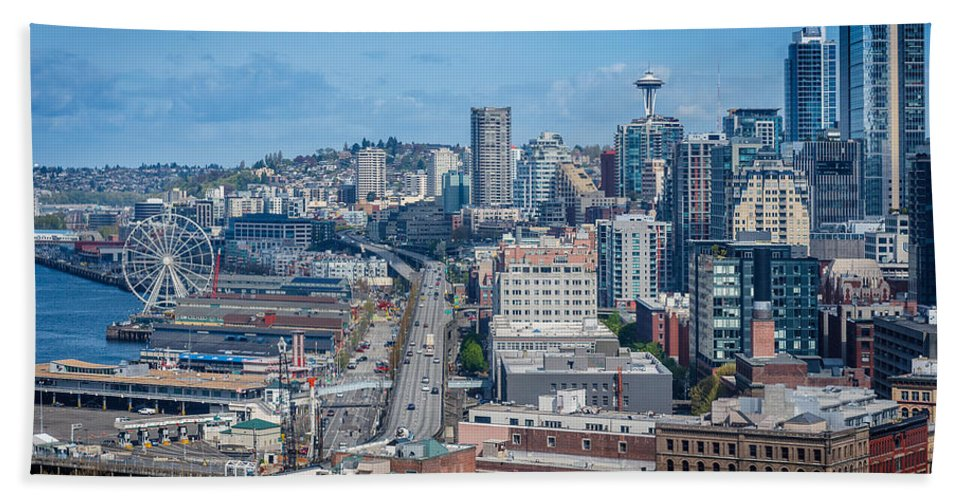 Seattle Bath Sheet featuring the photograph Seattle Waterfront by Mike Penney