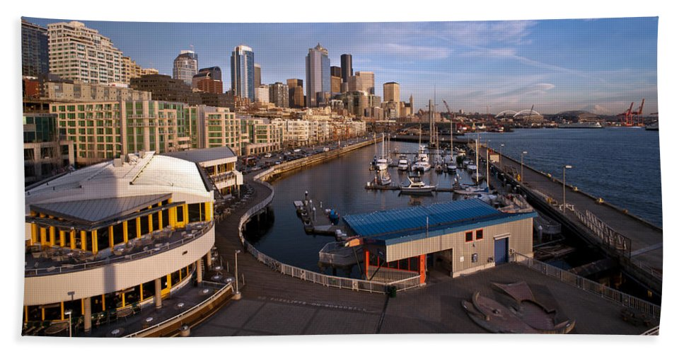 Seattle Bath Sheet featuring the photograph Seattle Waterfront by Mike Reid