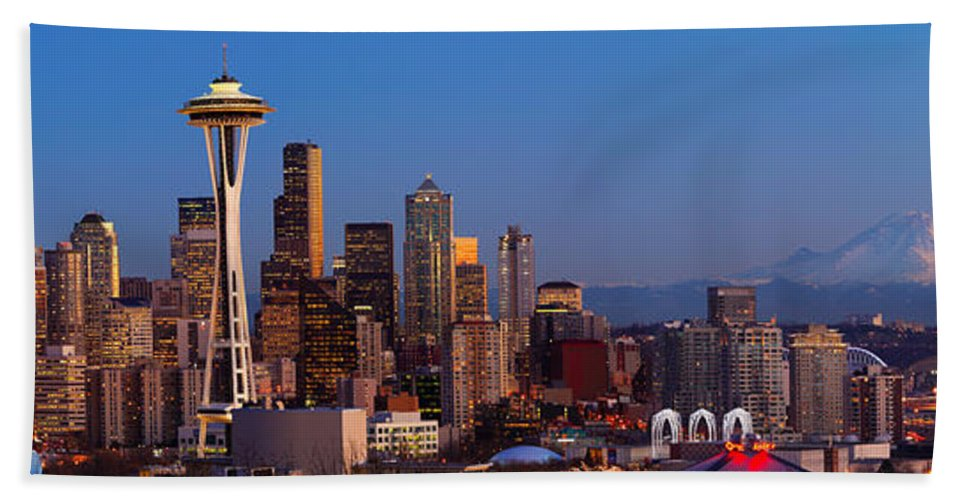 Seattle Bath Sheet featuring the photograph Seattle Winter Evening Panorama by Inge Johnsson
