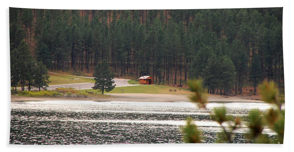 Lake Bath Sheet featuring the photograph Secluded Cabin by Mary Carol Story