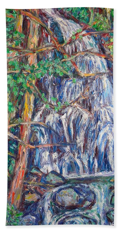 Waterfall Hand Towel featuring the painting Secluded Waterfall by Kendall Kessler