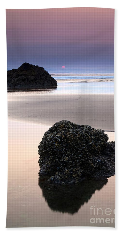 Arcadia Beach Bath Sheet featuring the photograph Second Rock From The Sun by Mike Dawson