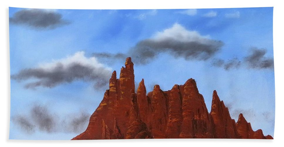 Mountains Hand Towel featuring the painting Sedona Arizona by Jody Poehl