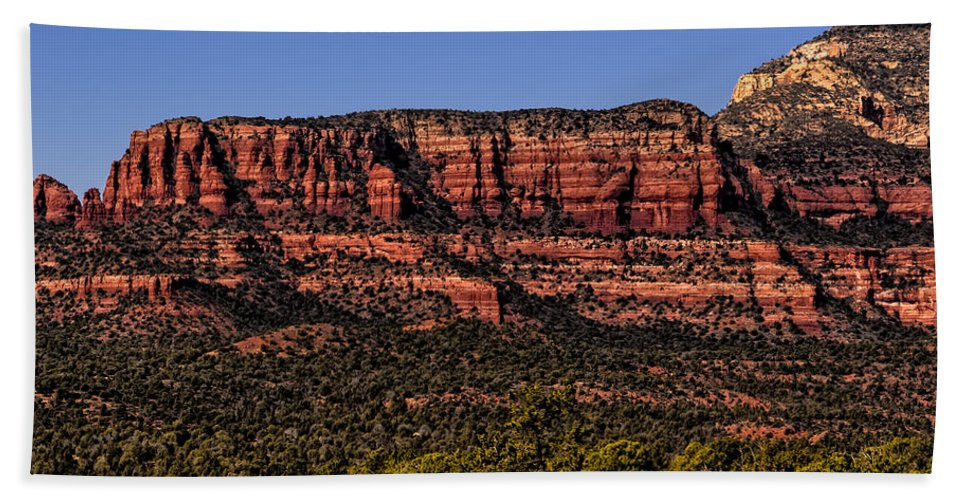 2014 Hand Towel featuring the photograph Sedona Fortress by Mark Myhaver