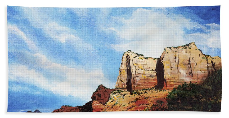 Sedona Arizona Bath Towel featuring the painting Sedona Mountains by Mary Palmer