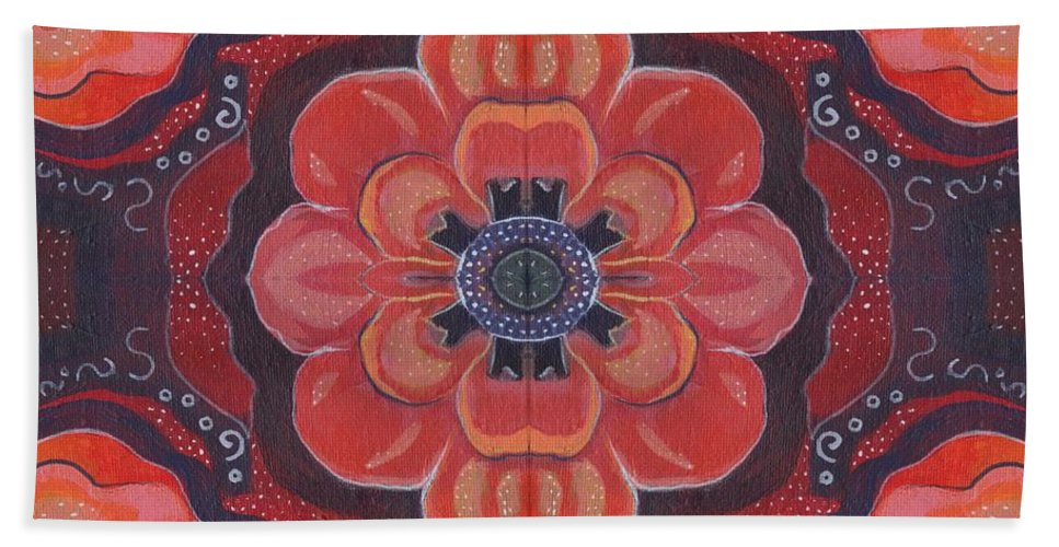 Abstract Bath Sheet featuring the painting Seduction In Red 1 - The Joy Of Design X X V Arrangement by Helena Tiainen
