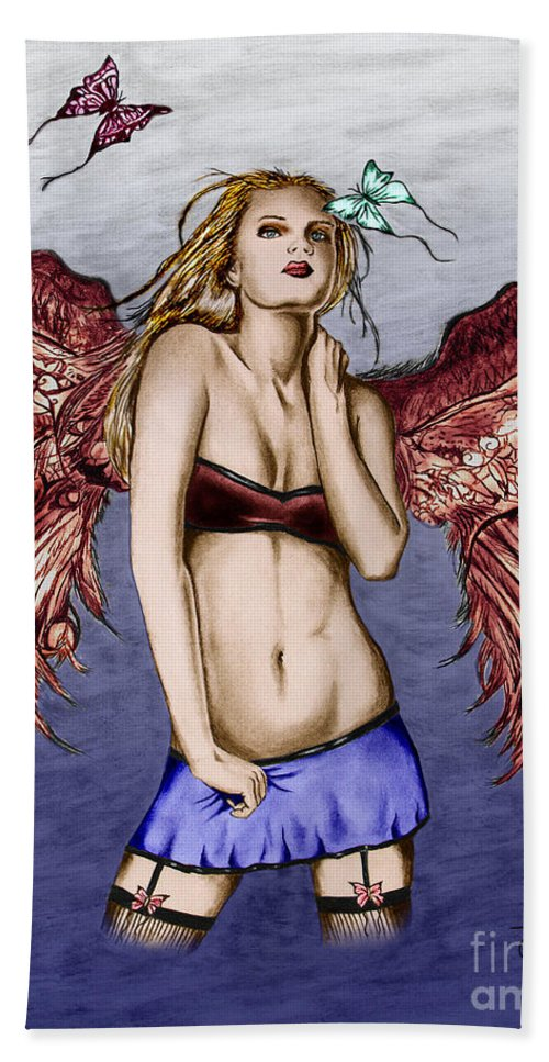 Seductive Angel Bath Towel featuring the drawing Seductive Angel Colored by Peter Piatt