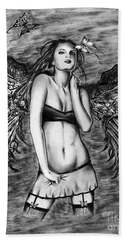 Seductive Angel Bath Towel featuring the drawing Seductive Angel by Peter Piatt
