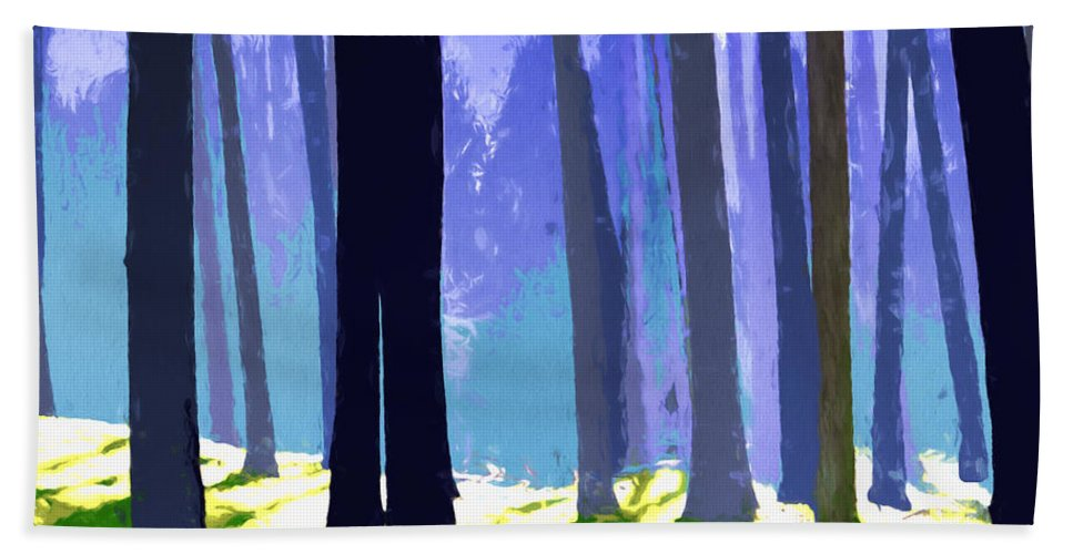 Trees Forest Trunks Sunlight Abstract Landscape Surreal Shadows Bath Sheet featuring the painting See The Forest For The Trees by Elaine Plesser