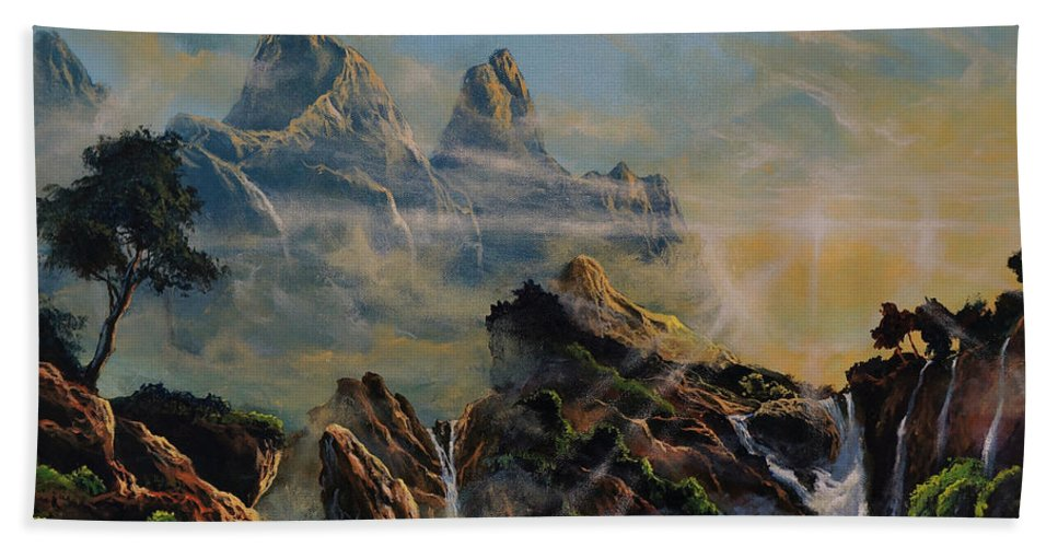 Rocks Hand Towel featuring the painting Seeing The Face Of God by Marco Antonio Aguilar