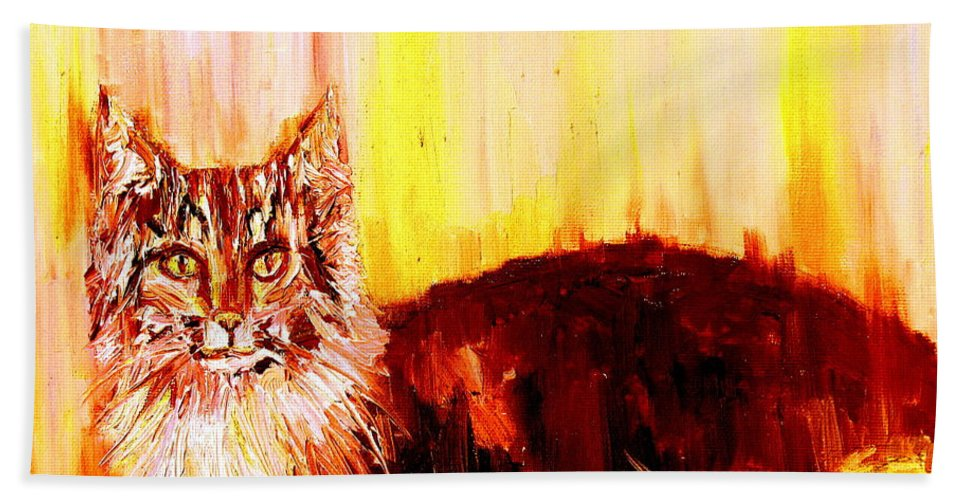 Cat Hand Towel featuring the painting Seeker Of The Unknown by Fabrizio Cassetta