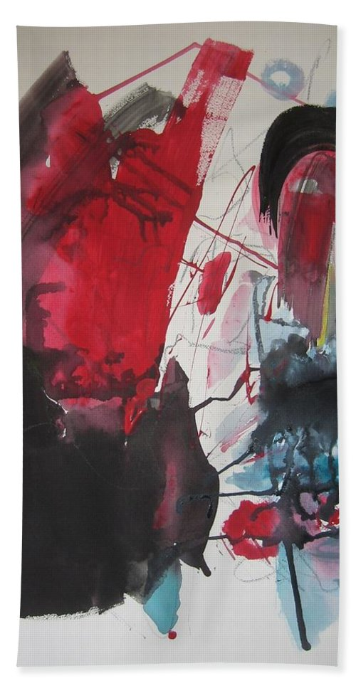 Red Paintings Bath Towel featuring the painting Seem To Happen Suddenly Original Abstract Colorful Landscape Painting For Sale Red Blue Green by Seon-Jeong Kim