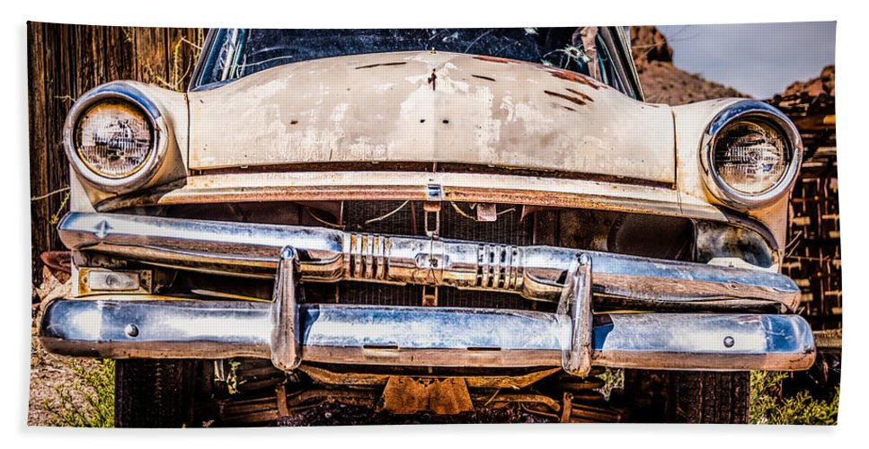 1953 Ford Antique Automobile Bath Towel featuring the photograph Seen Better Days by Onyonet Photo Studios