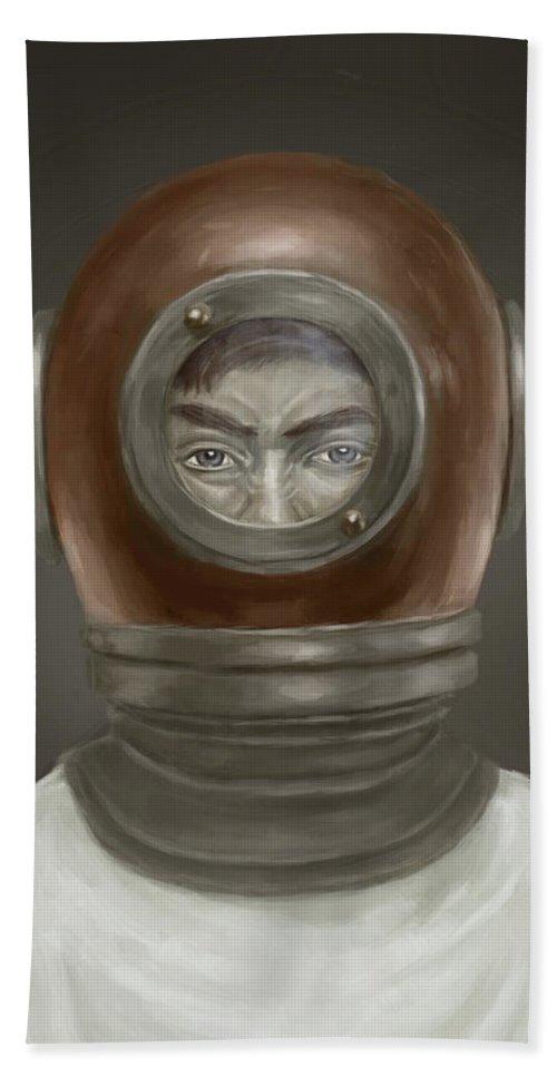 Digital Bath Towel featuring the digital art Self Portrait by Balazs Solti