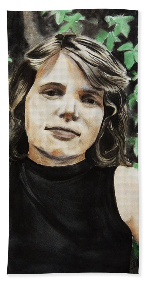 Adults Hand Towel featuring the painting Self-portrait by Masha Batkova