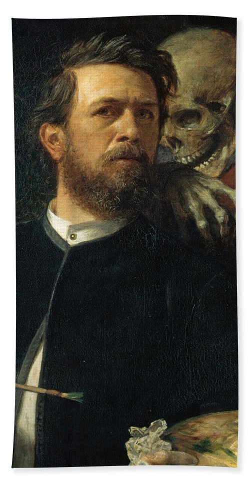 Self Portrait With Death Hand Towel featuring the digital art Self Portrait With Death by Arnold Bocklin