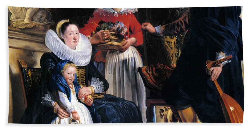 Jacob Jordaens Bath Sheet featuring the painting Self-portrait With Family by Jacob Jordaens