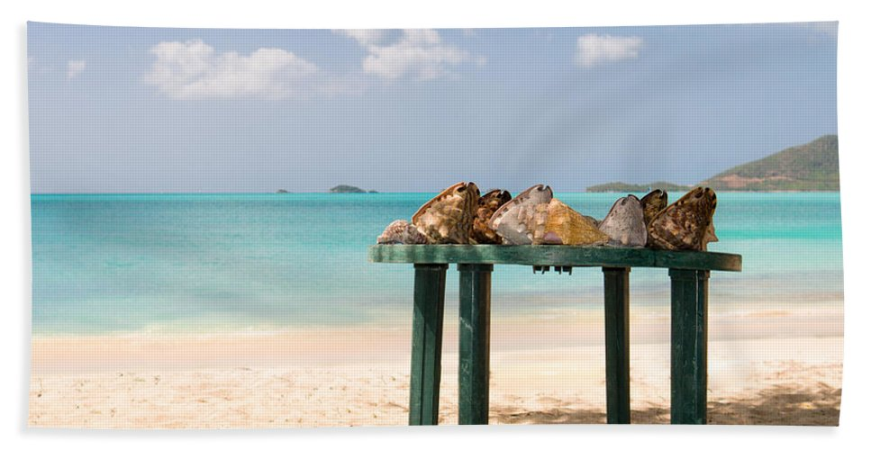 Antigua And Barbuda Bath Sheet featuring the photograph Selling Shells by Ferry Zievinger