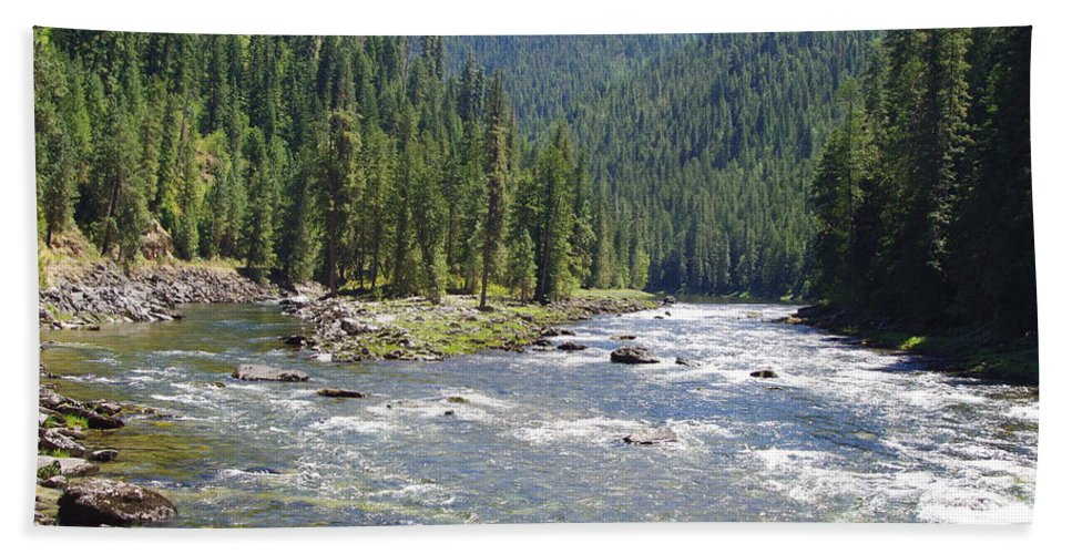 Water Falls Bath Sheet featuring the photograph Selway River by Mike Wheeler