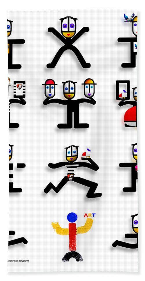 Figures Bath Sheet featuring the digital art Semaphore by Charles Stuart