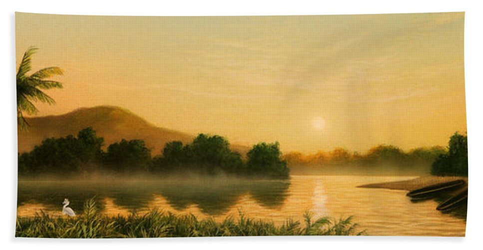 Native American Hand Towel featuring the painting Seminole Sunset by Jerry LoFaro